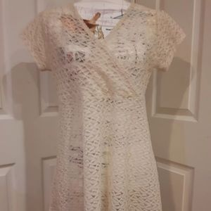 2/$15 chiffon sheer dress top cream color size L